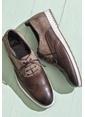 Elle %100 Deri Bağcıklı Ayakkabı Kahve